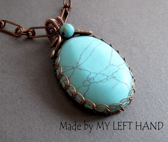 Turquoise necklace Copper necklace Wire Wrapped Necklace Wire Woven ...