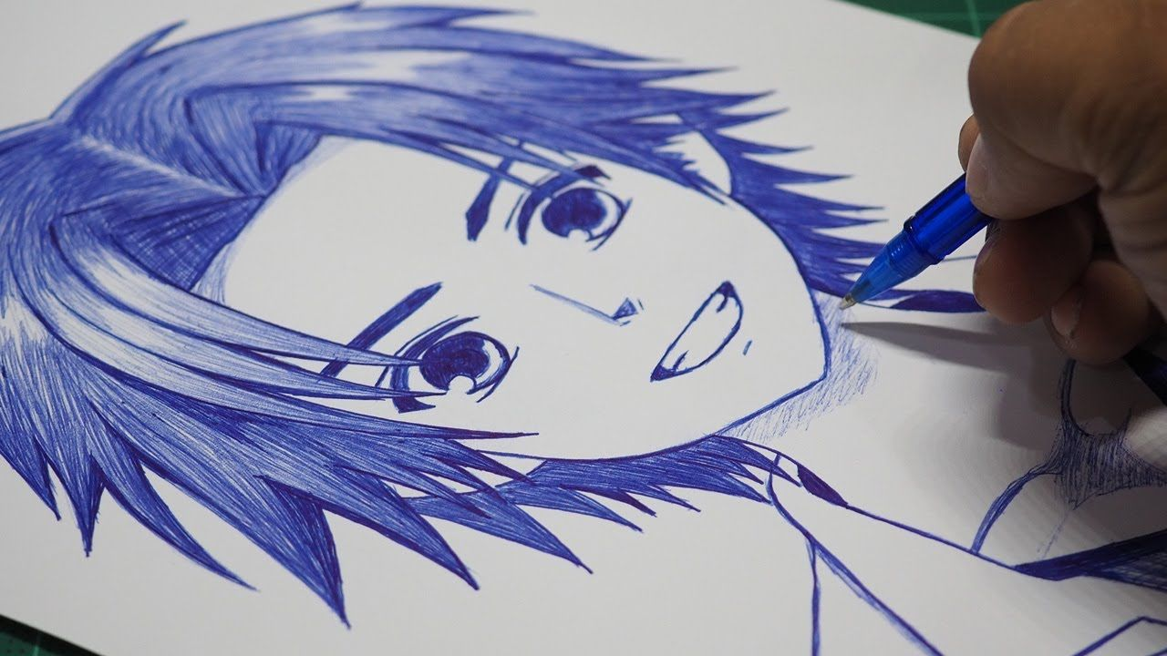 How To Draw Anime Boy Using Only One Pen Anime Drawing Tutorial For Beg Drawing Tutorial Anime Drawings For Beginners Anime Drawings Tutorials
