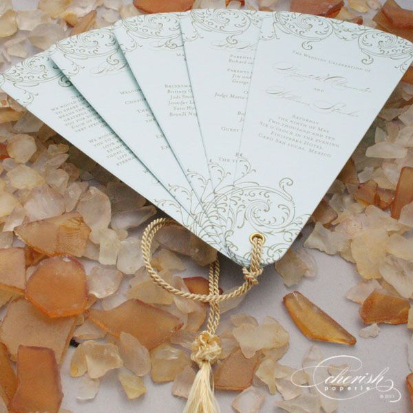 Wedding fan embellished with cord... nice touch!