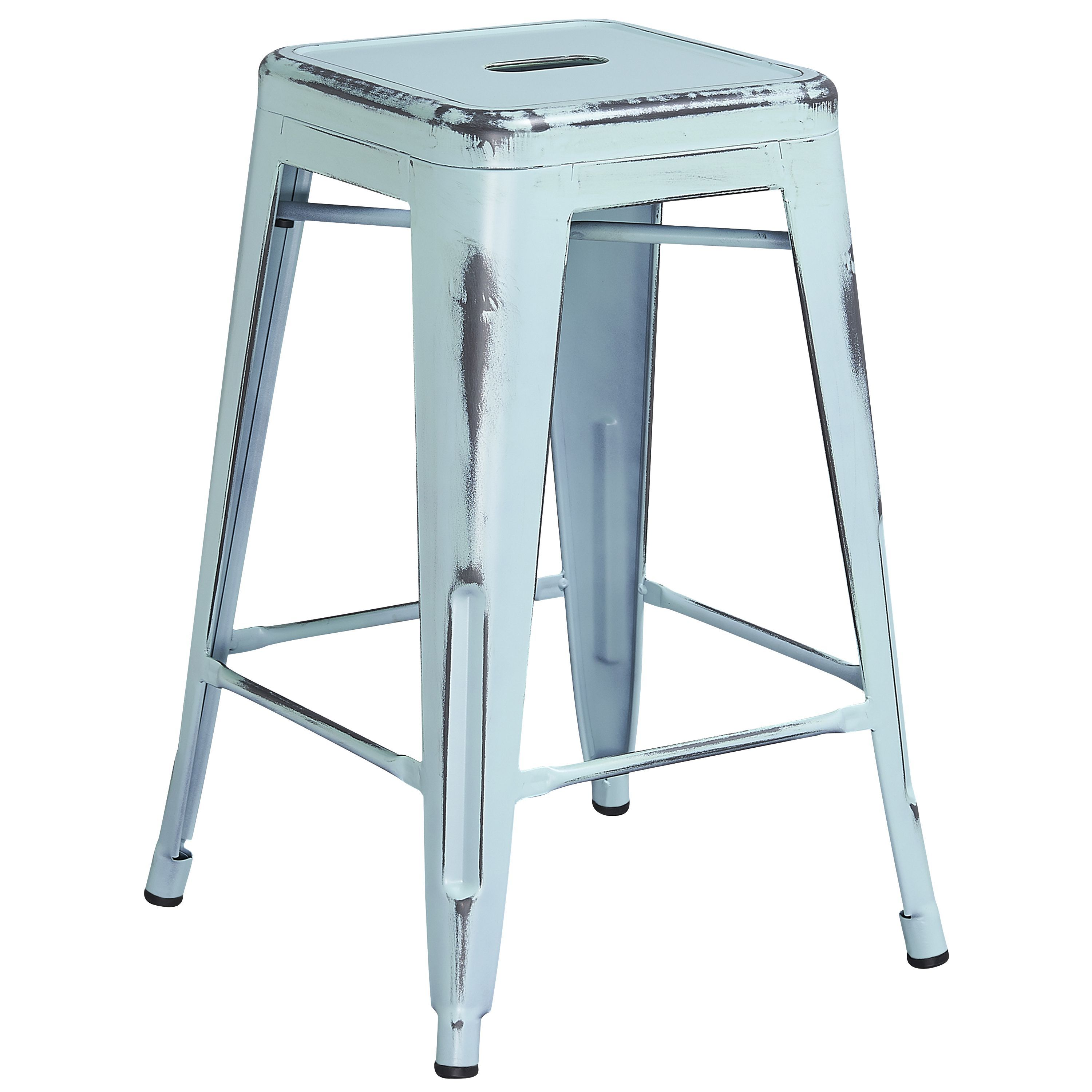 Flash Furniture 24 inch High Backless Distressed Metal Indoor