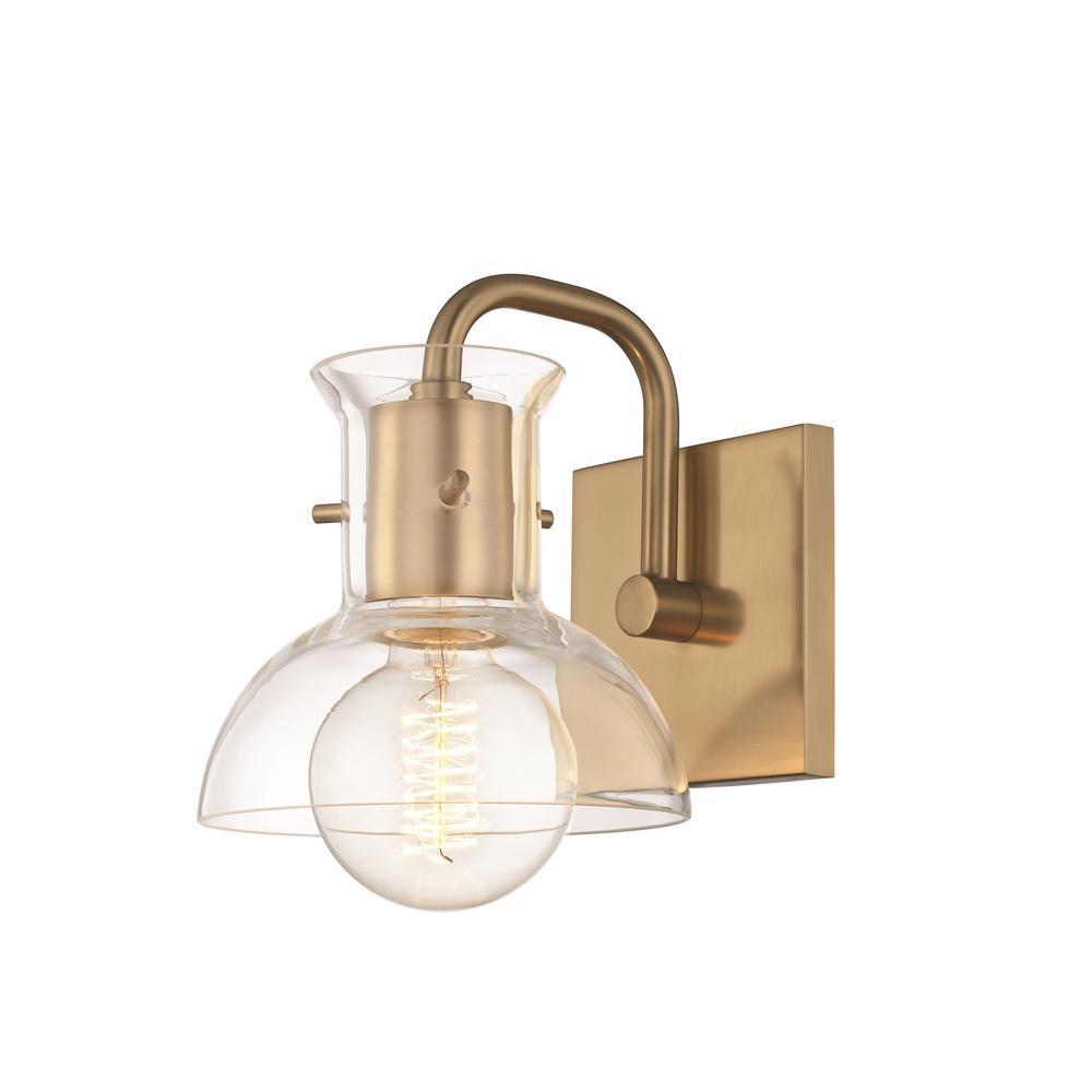 Mitzi By Hudson Valley Lighting Riley 1 Light Aged Brass Bath