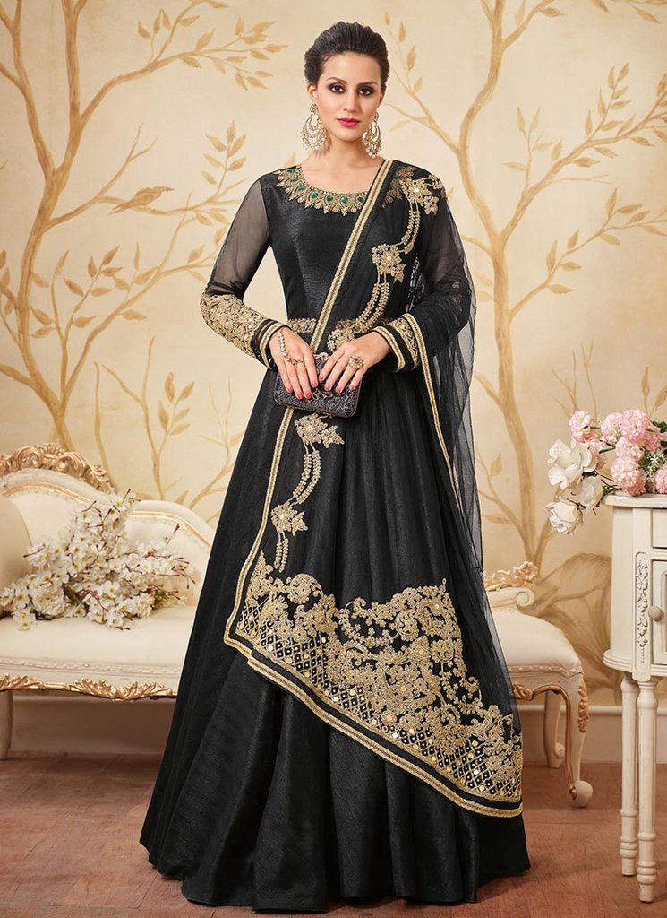 5b007f7f80 Black and Gold Embroidered Silk Anarkali Suit | Anarkalis at ...