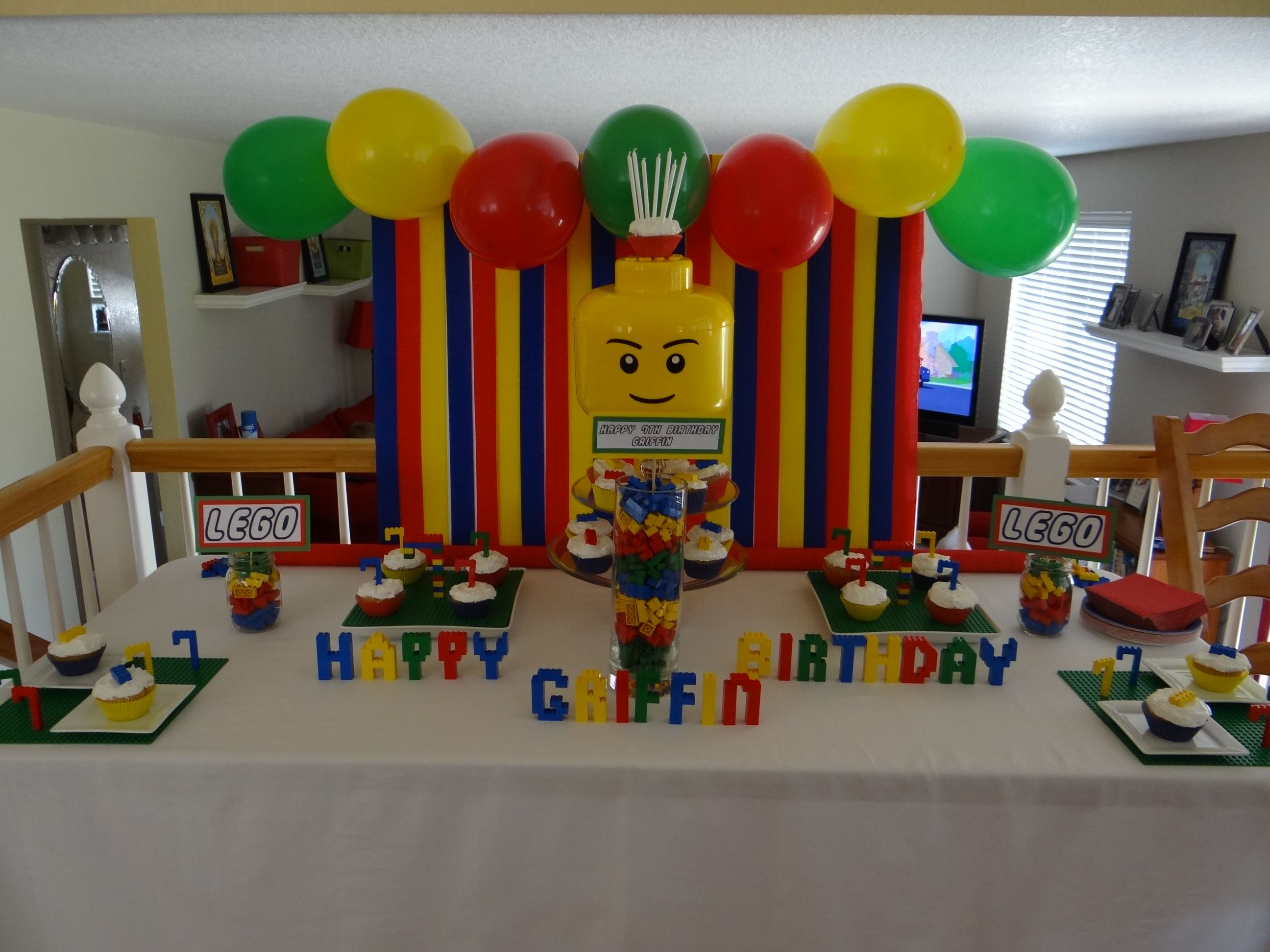 Pin By Hillary Ball On Lego Lego Party Decorations Lego Birthday Lego Themed Party