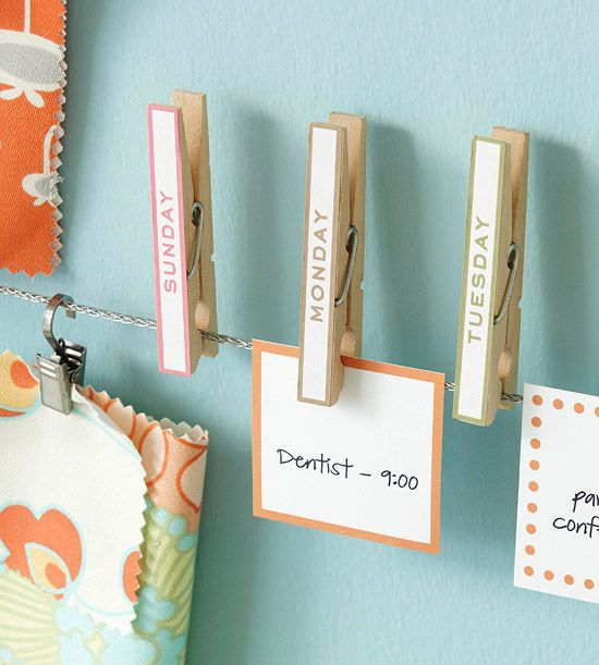 visual organizer for the week - as simple as clothes pins with the week days and a note with the day's event(s)