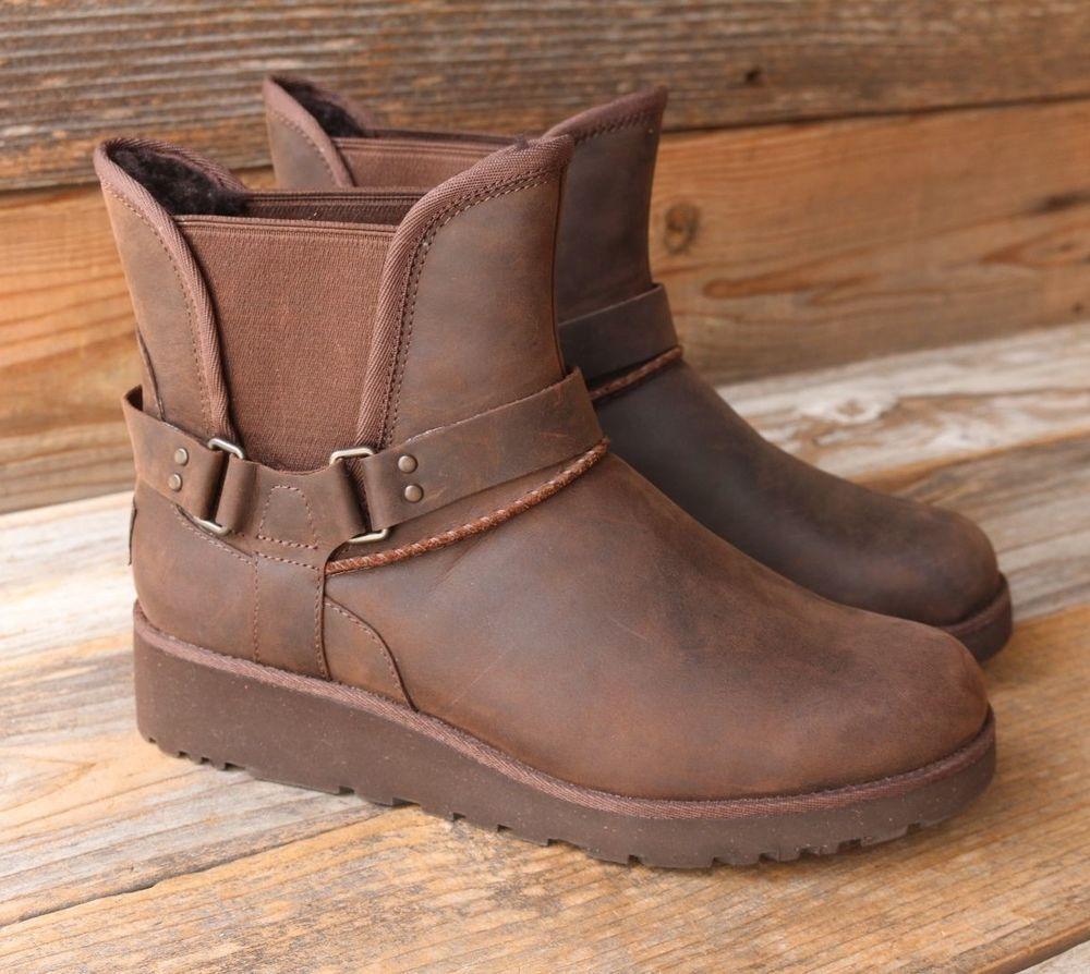 4000adab4fc UGG Australia Womens Glen Chocolate Mini Leather Sheepskin Boots US ...