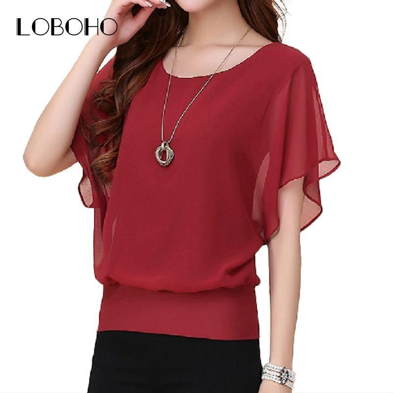 df722e8ec39563 New Womens Tops Fashion 2017 Women Summer Chiffon Blouse Plus Size Ruffle  Batwing Short Sleeve Casual Shirt Black White Red Blue #summer #boho # designer ...