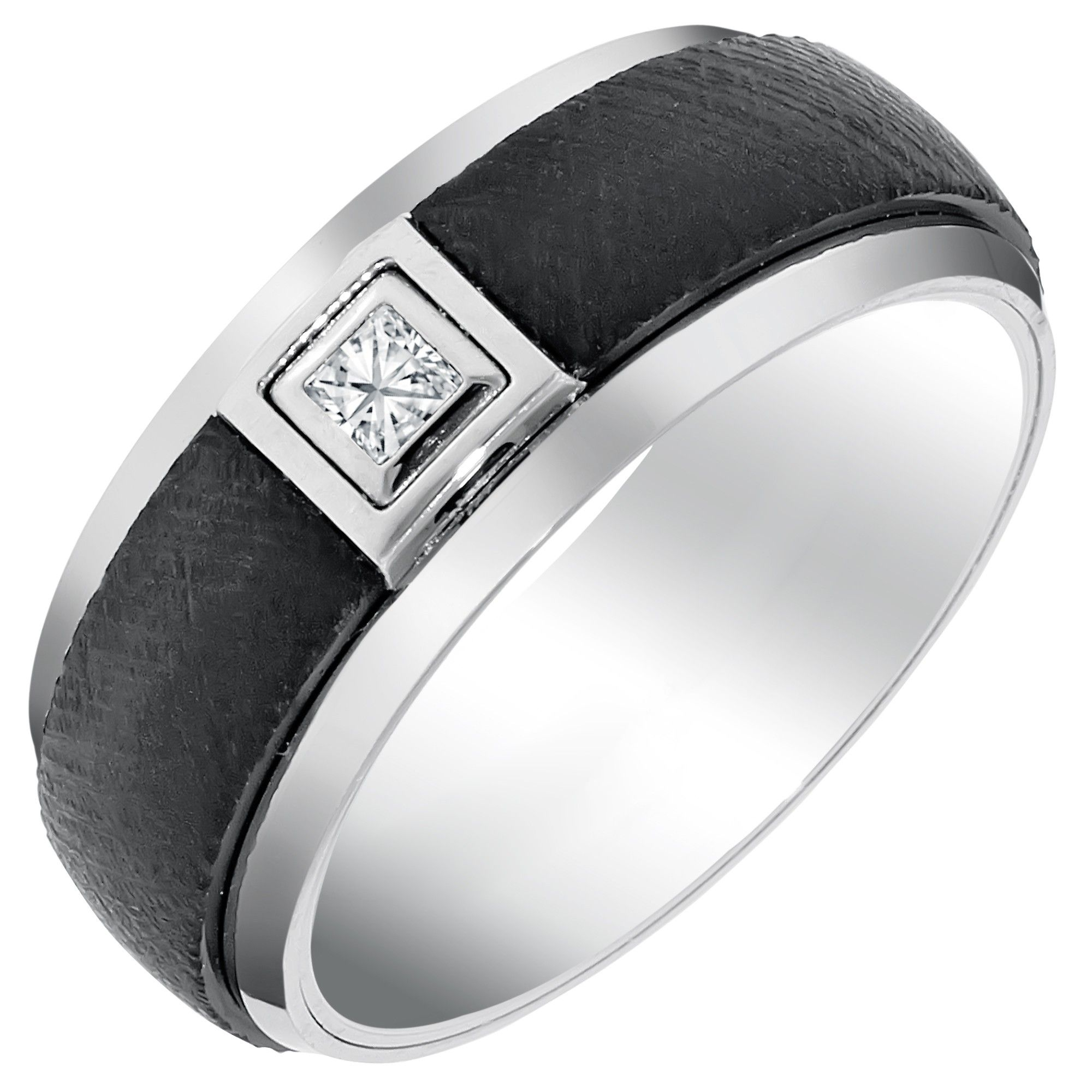 Triton Mens Comfort Fit Wedding Band with Diamond in White