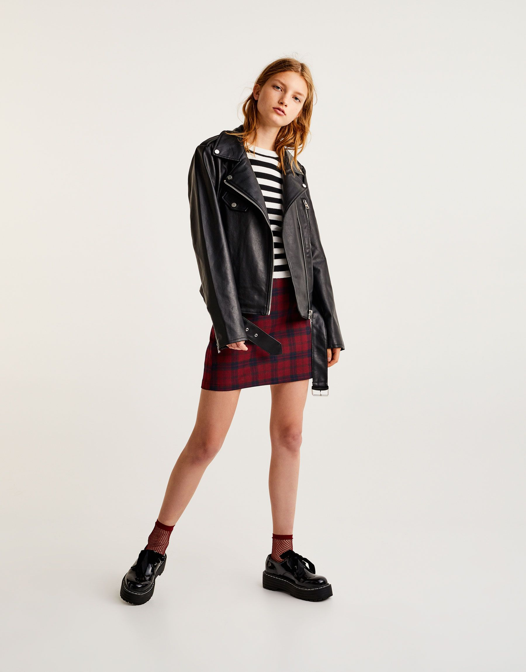 ed29647a7a24 Faux leather biker jacket with belt - New - Woman - PULL BEAR United Kingdom