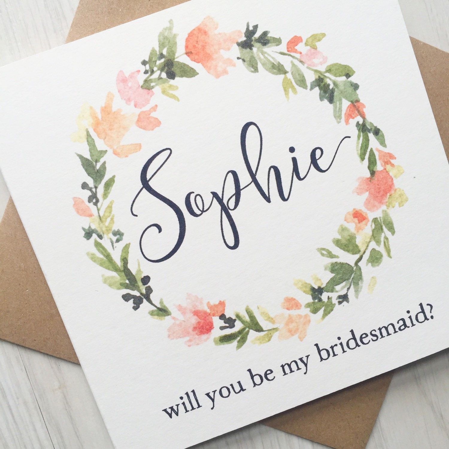 Maid of Honour Personalised Will You Be My Bridesmaid Card Flower Girl