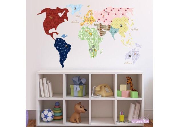 Wandtattoo | Weltkarte | World Map | Wanddesign, Neue trends und Schonen