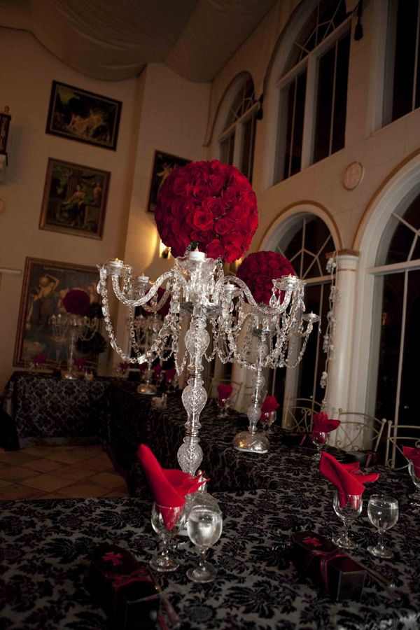 halloween wedding centerpieces crystal chandelier centerpieces available from studio b event design - Halloween Wedding Centerpieces