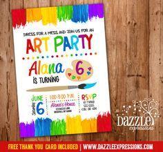 Birthday Painting Party Invitation Digital Printable card. DIY card Rainbow colors