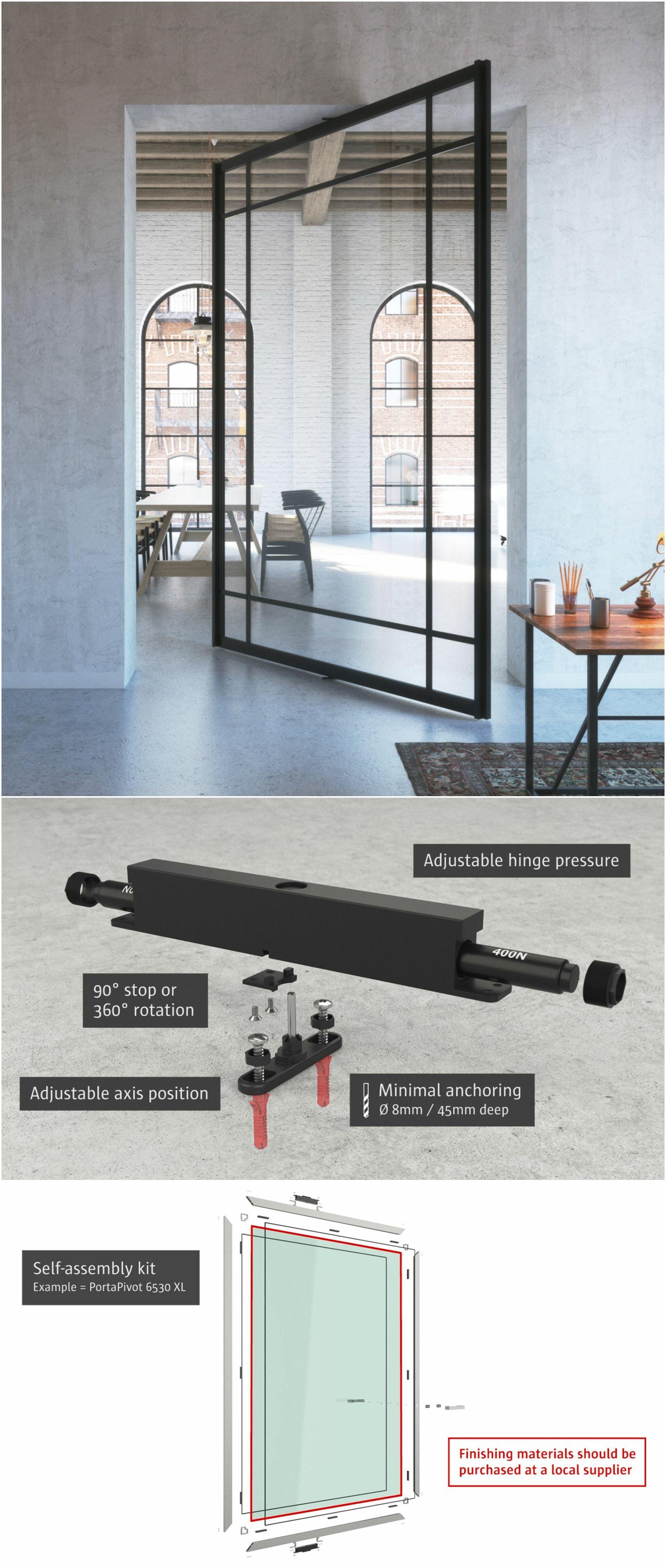 Glass pivot door with black anodized aluminium frame. Portapivot ...