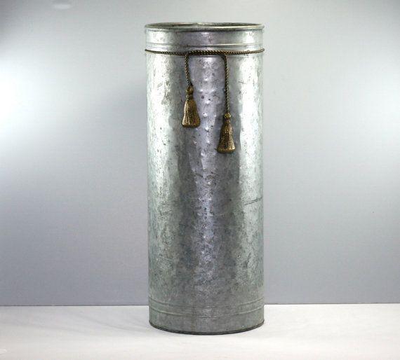 Galvanized Metal Umbrella Stand With Brass Tassels Classy Shabby