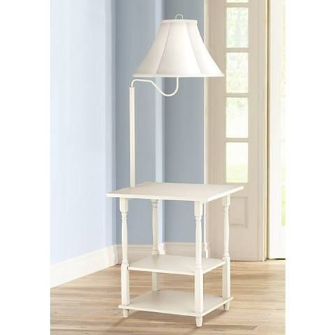 A Beautiful Painted White End Table Floor Lamp Design With A Handy Swing Arm Feature And Plenty Of Shelf Storage White End Tables Floor Lamp Floor Lamp Table