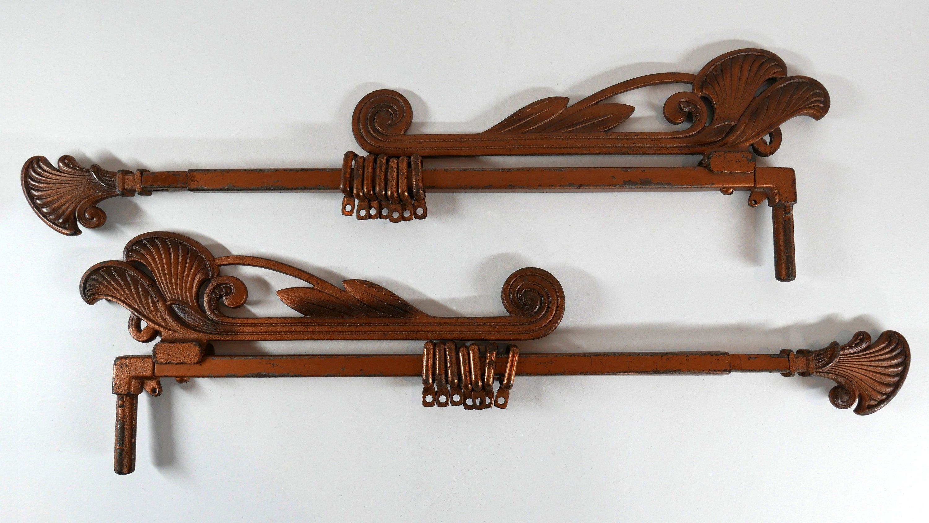 Antique Art Deco Pair Of Cast Iron Swing Arm Curtain Rods