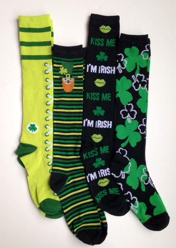 St Patrick/'s Day Women Socks four leaf clover Knee High Urban outfitters NEW