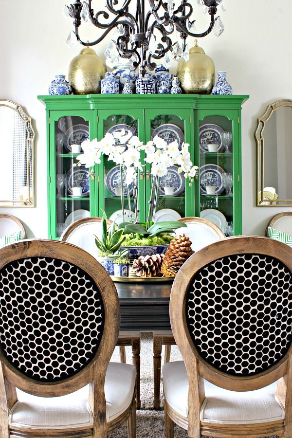 2016 FALL HOME TOUR PART 1 Fall HomeChina CabinetsCupboardsDimplesGreen Dining RoomDining Room ChairsDining RoomsKelly
