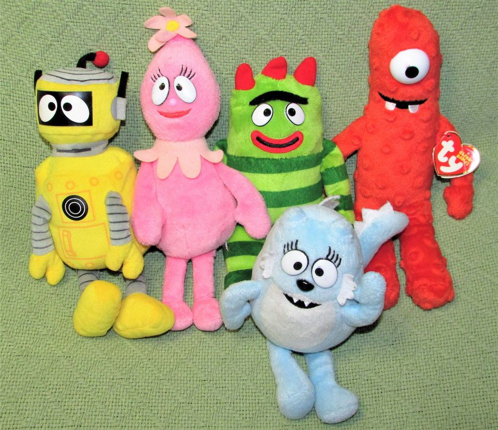 098cc22a2a4 Yo Gabba Gabba TY Lot 5 Plush Muno Brobee Foofa Plex Toodee Bean Bag Plush  Toys  Ty