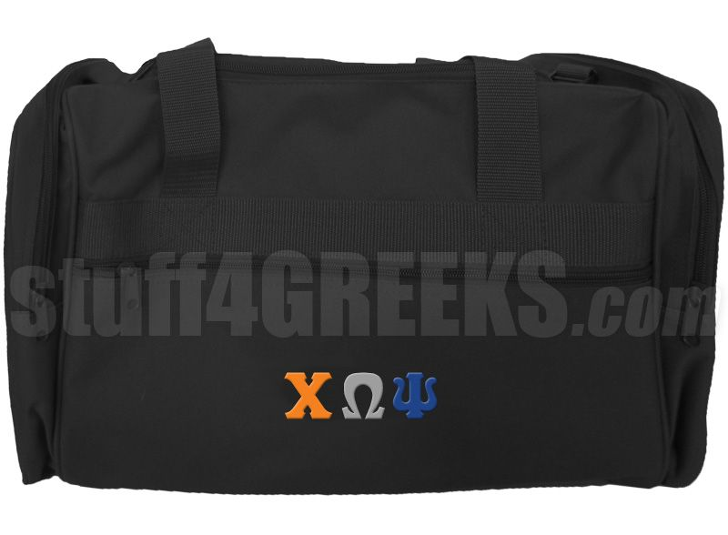 Black Chi Omega Psi duffel bag with Greek letters across the front.