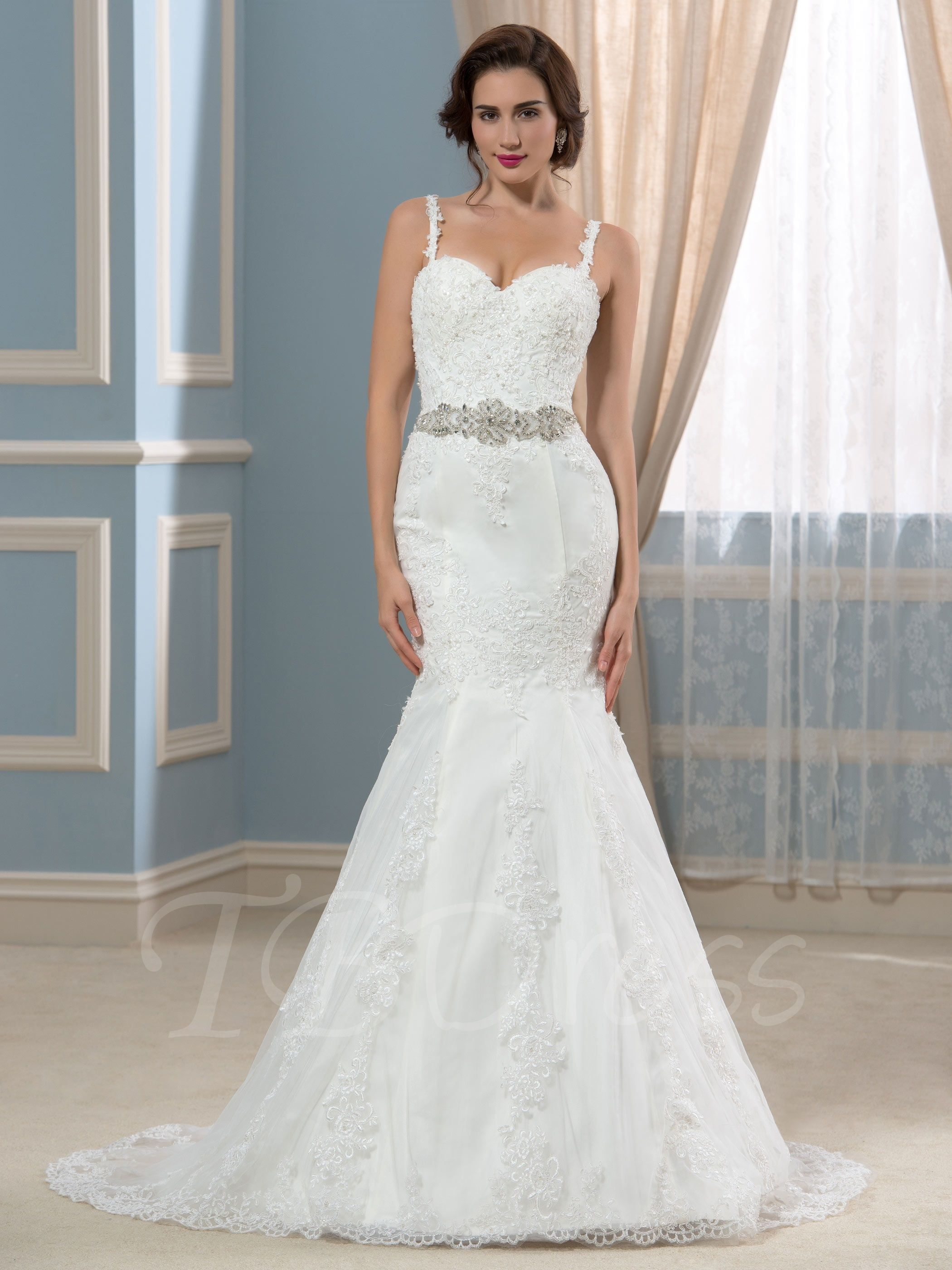 Tbdress.com offers high quality Spaghetti Straps Beaded Lace Court ...