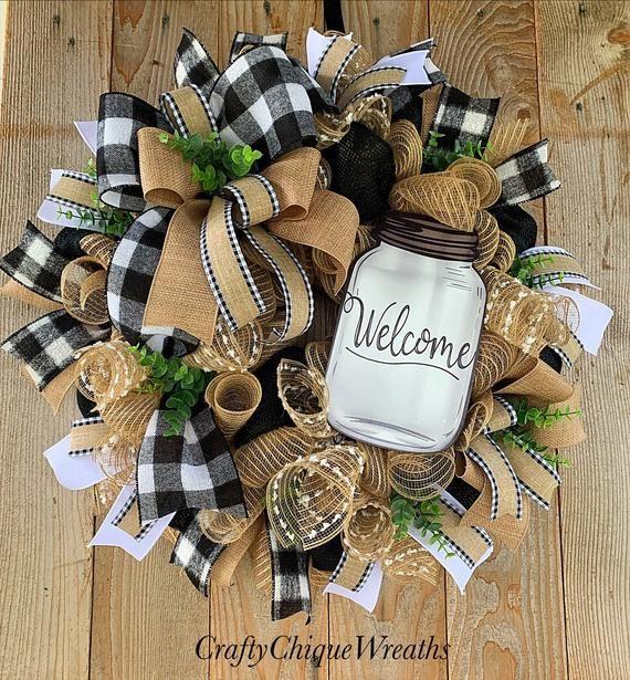 Photo of Mason Jar Wreath; Everyday Wreath; Burlap Wreath; Farmhouse Wreath; Wreath for Front Door