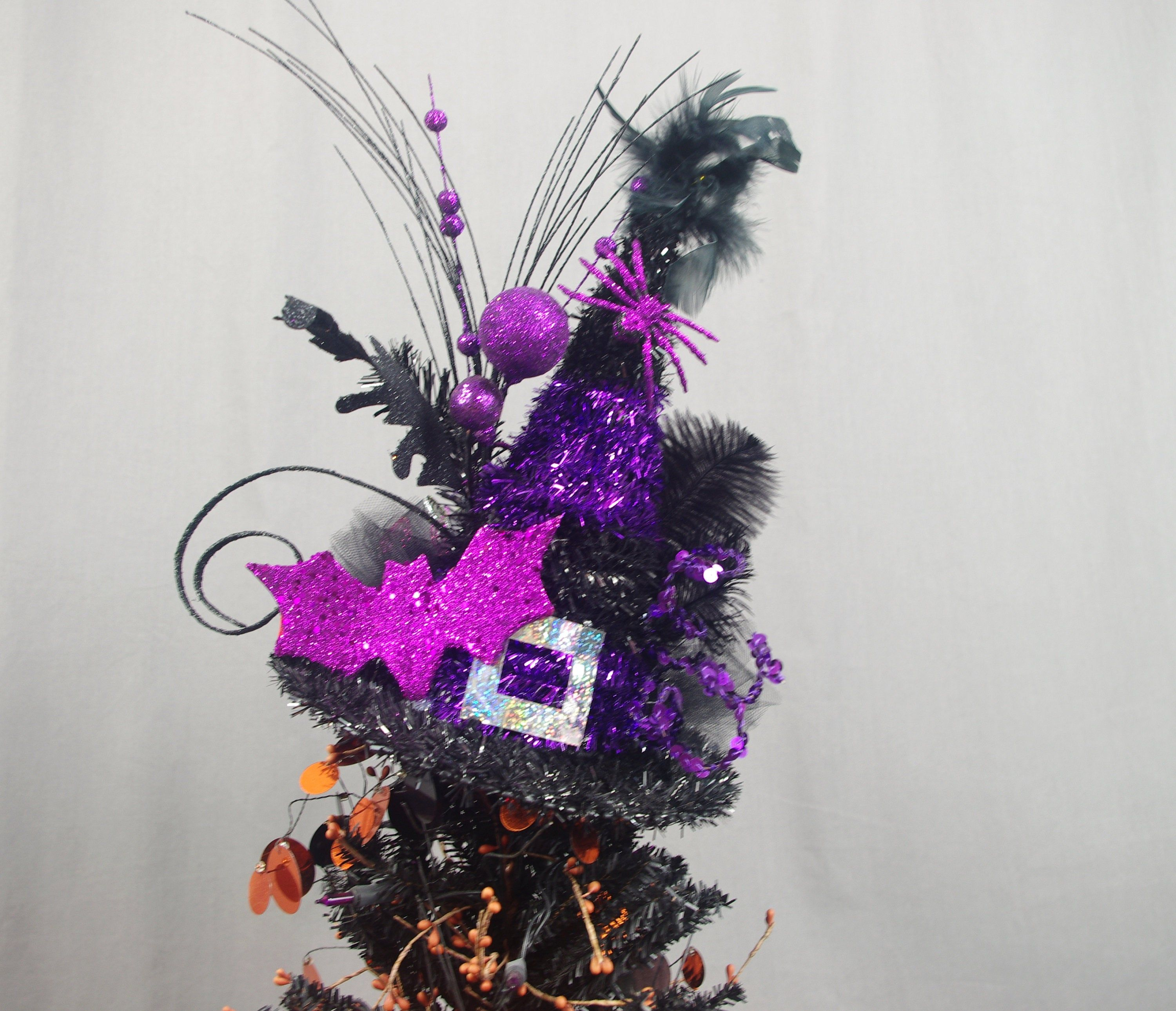 Bat Tree Topper Witch Hat Topper Halloween Decoration