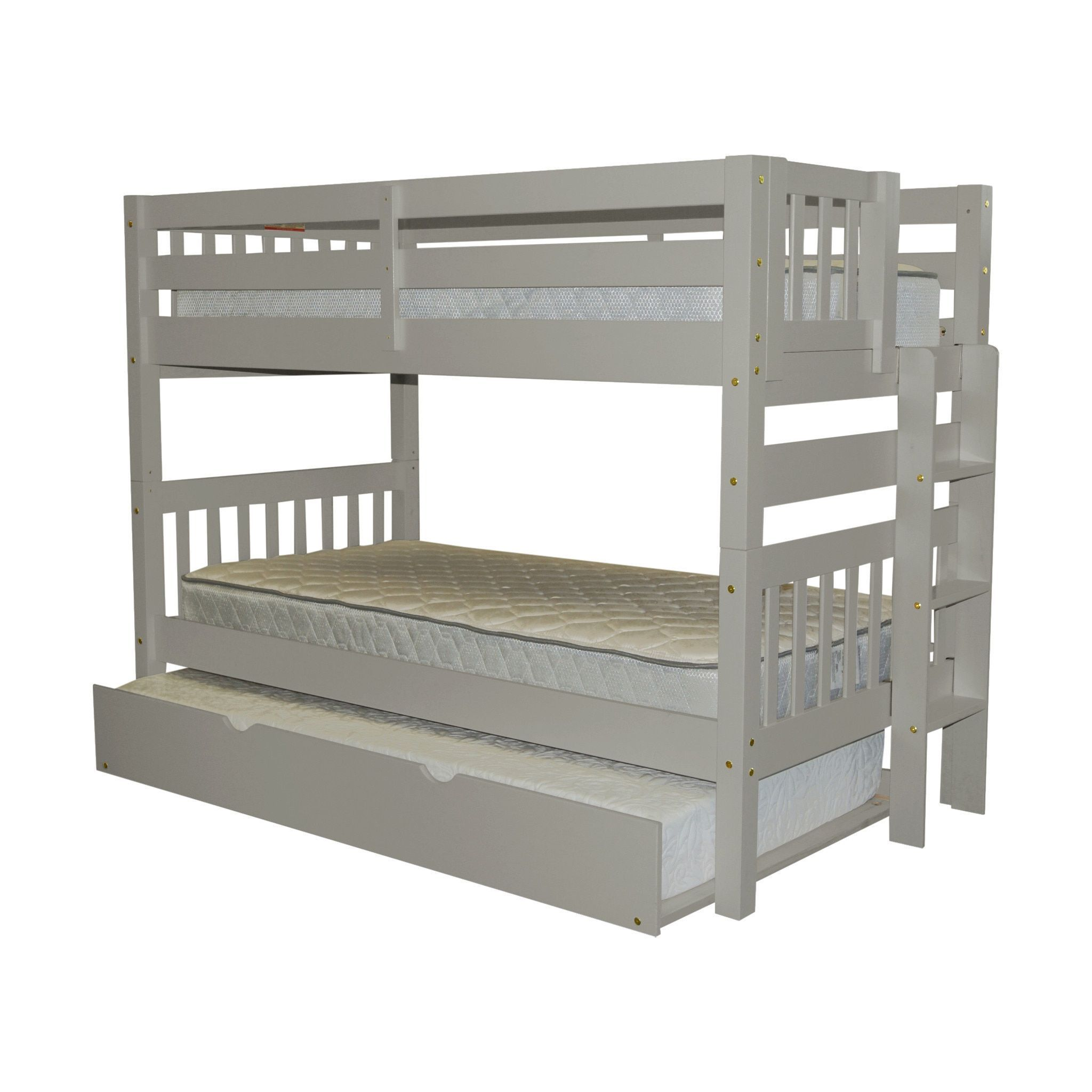 Bedz king bunk bed twin over twin with end ladder and a twin trundle