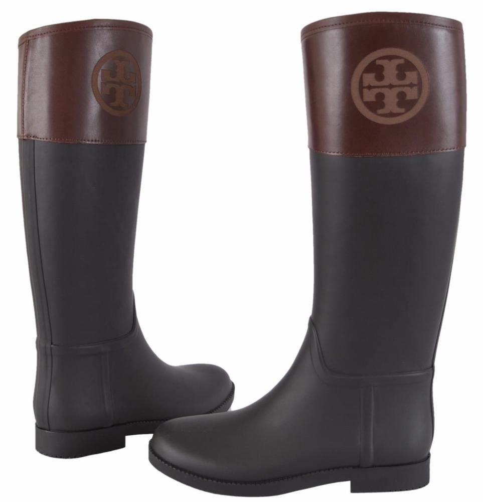 f70a5dea92bcf0 NEW Tory Burch Classic Black Rubber T Logo Rain Boots Shoes 5