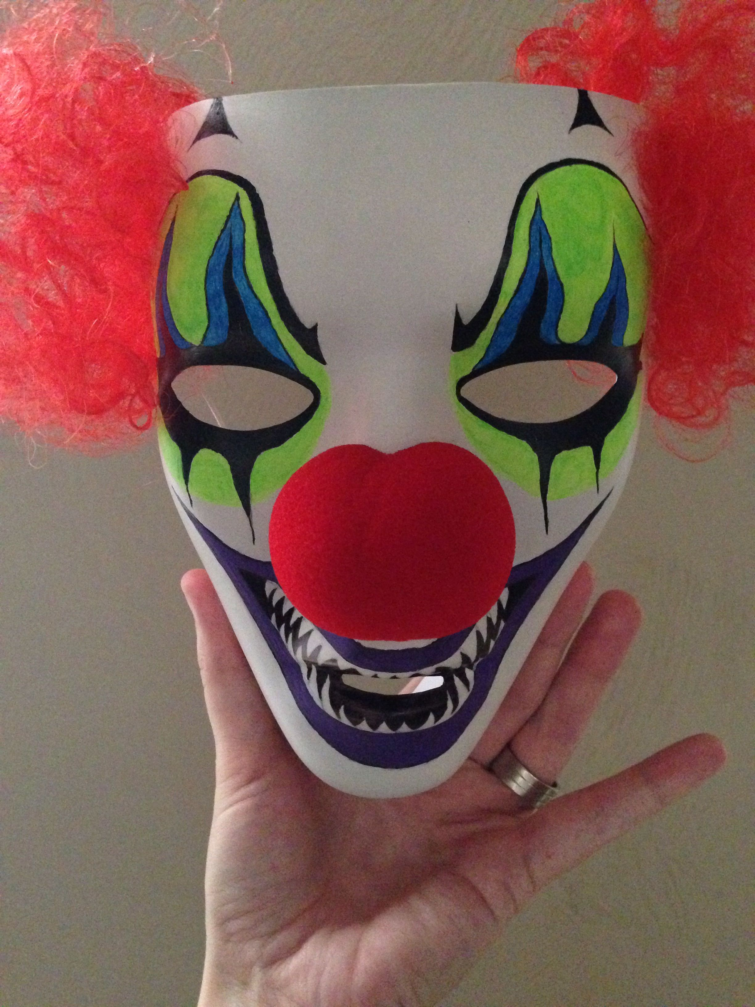 Finished hand painted blank mask from Spirit Halloween. 1 down 5 ...