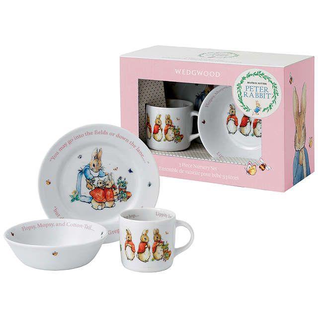 Beatrix Potter Peter Rabbit Wedgwood Flopsy Mopsy And Cotton Tail 3 Piece Nursery Set