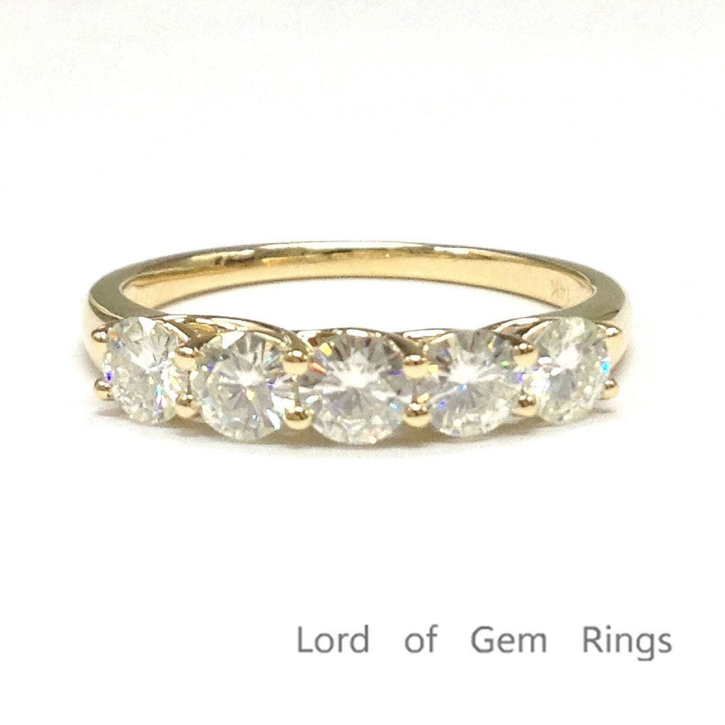 Round moissanite engagement ring wedding band k yellow gold mm