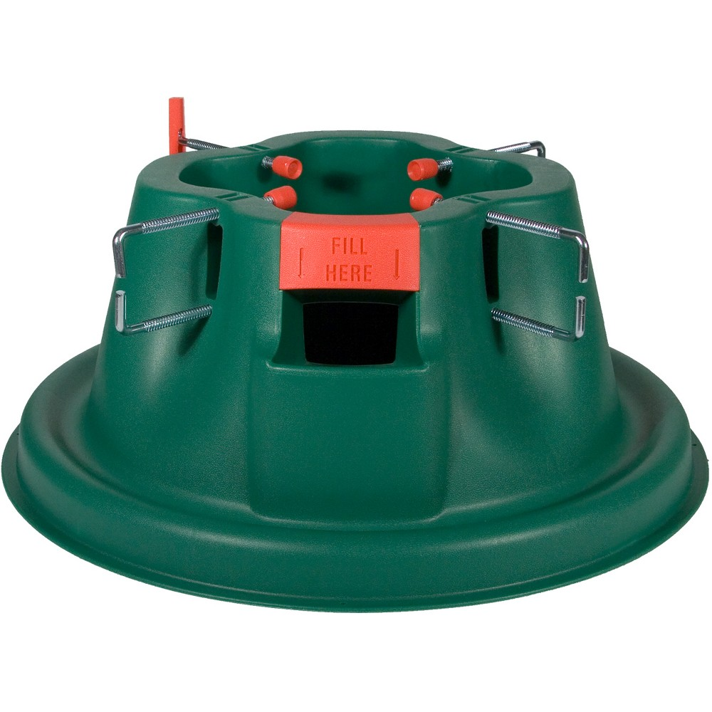 This sturdy and stylish green plastic stand supports trees ...
