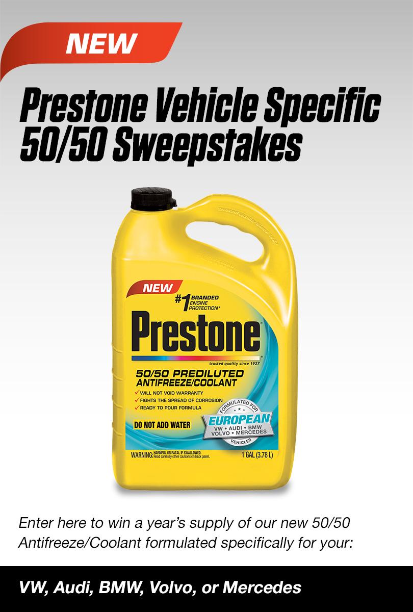Prestone Vehicle Specific 50 Antifreeze Coolant Sweepstakes Engine Contests Pinterest