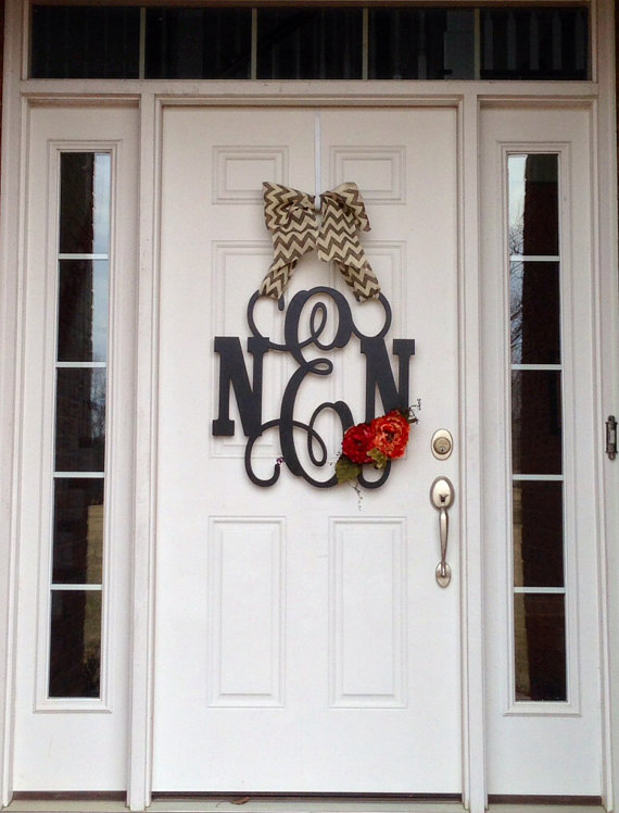 Custom MONOGRAM Circle W Scalloped Edge Door Hanger Fall Pumpkin & Astounding Front Door Hanging Monogram Contemporary - Image design ...