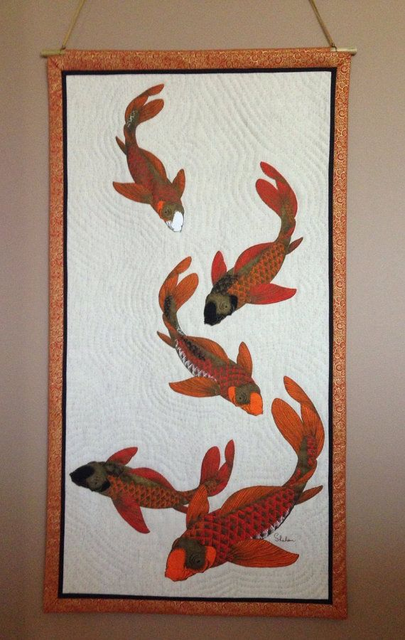 Koi Fish Art Fish Wall Hanging Fish Art Quilt Quilted Wall Hanging