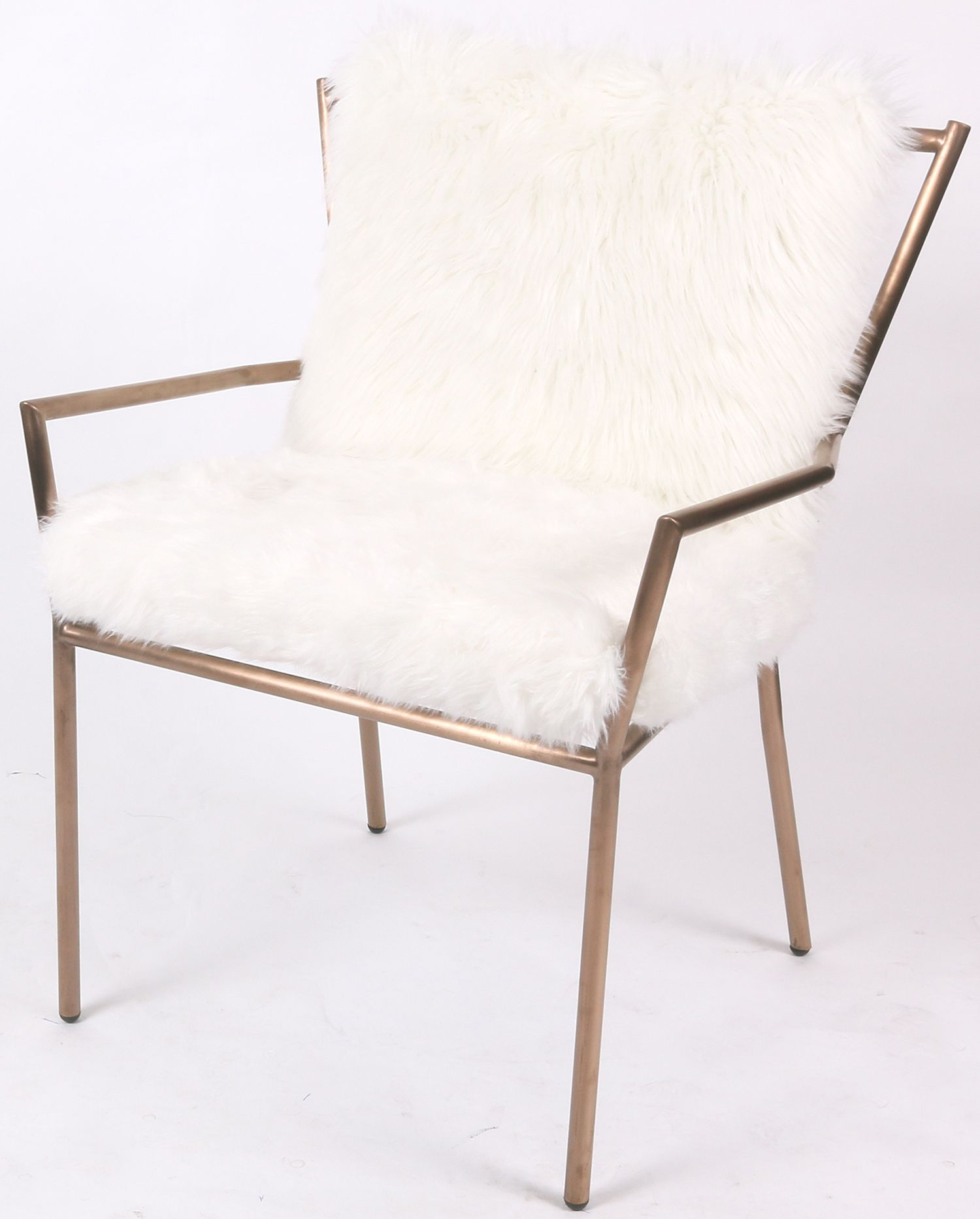 Duffy Faux Fur Chair Rose Gold Frame in Freesia White Material