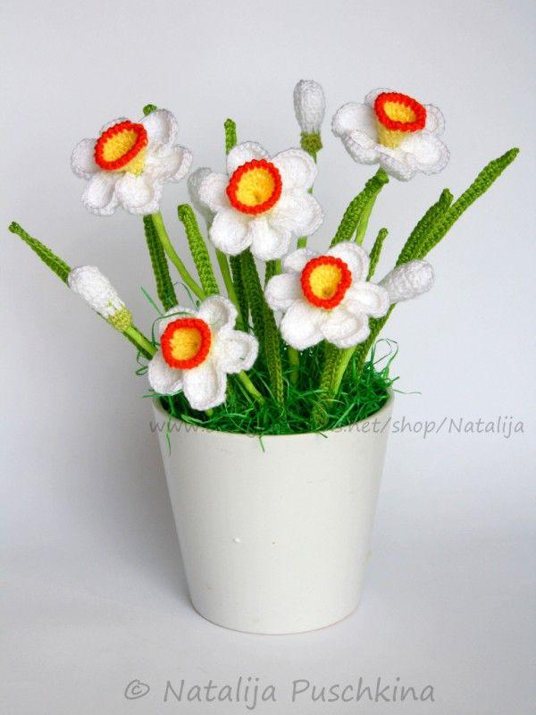Häkelanleitung für immer frischen Blumenstrauß mit Narzissen ...