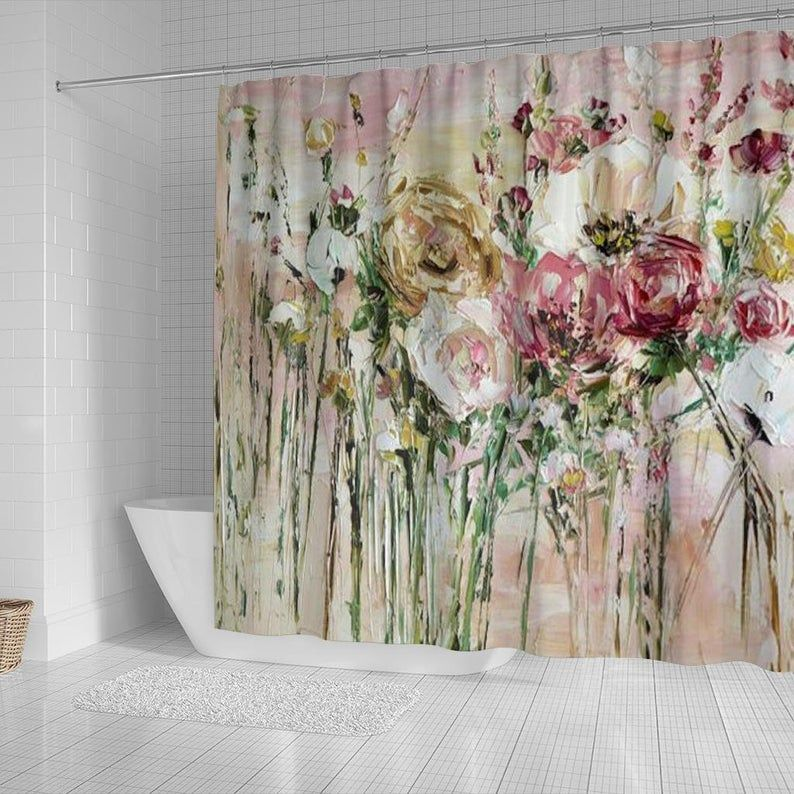 Painted Shower Curtain Hand Made Shower Curtain Custom Bathroom Curtain Boho Shower Curtain Farmhouse Decor Water Colour Bath Curtain In 2020 Boho Shower Curtain Painting Shower Colorful Bath
