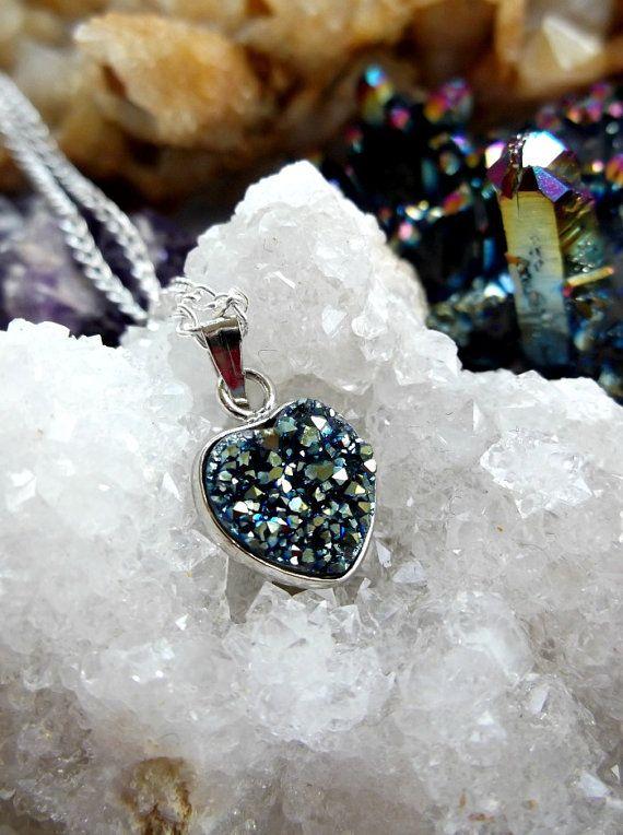 Spectrum Rainbow Titanium Quartz Hearts Necklace by TheFaerieMines, €10.00 #titanium quartz #gemstones #necklaces #psychedelic #festival #heart