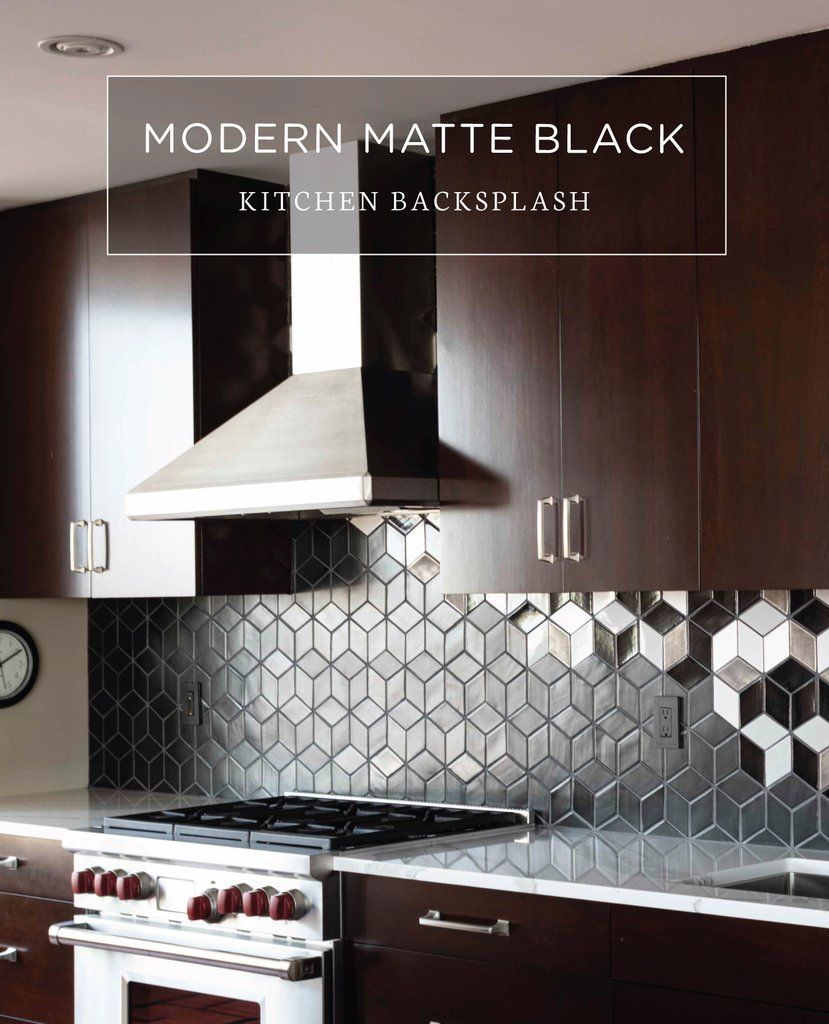 Modern Matte Black Kitchen Backsplash Matte Black Kitchen Black Kitchens Metal Backsplash Kitchen
