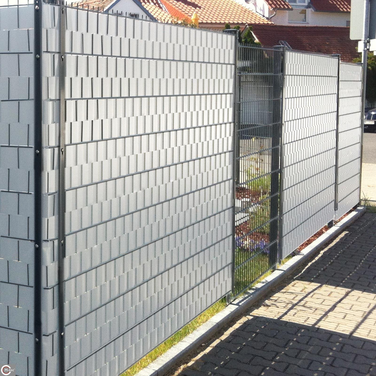 Sichtschutzstreifen Profi Line Lichtgrau 65m Rolle 19cm Hoch Gartentor Doppelstabmattenzaun Licht