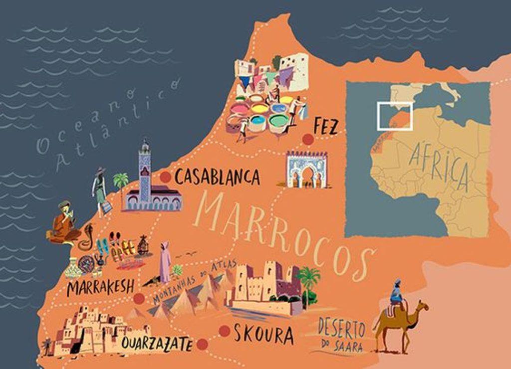 Cartina Politica Del Marocco.Viaggio In Marocco Mappa Turistica Del Marocco Fonte Pinterest Marocco Viaggi Marocco Carte Geografiche