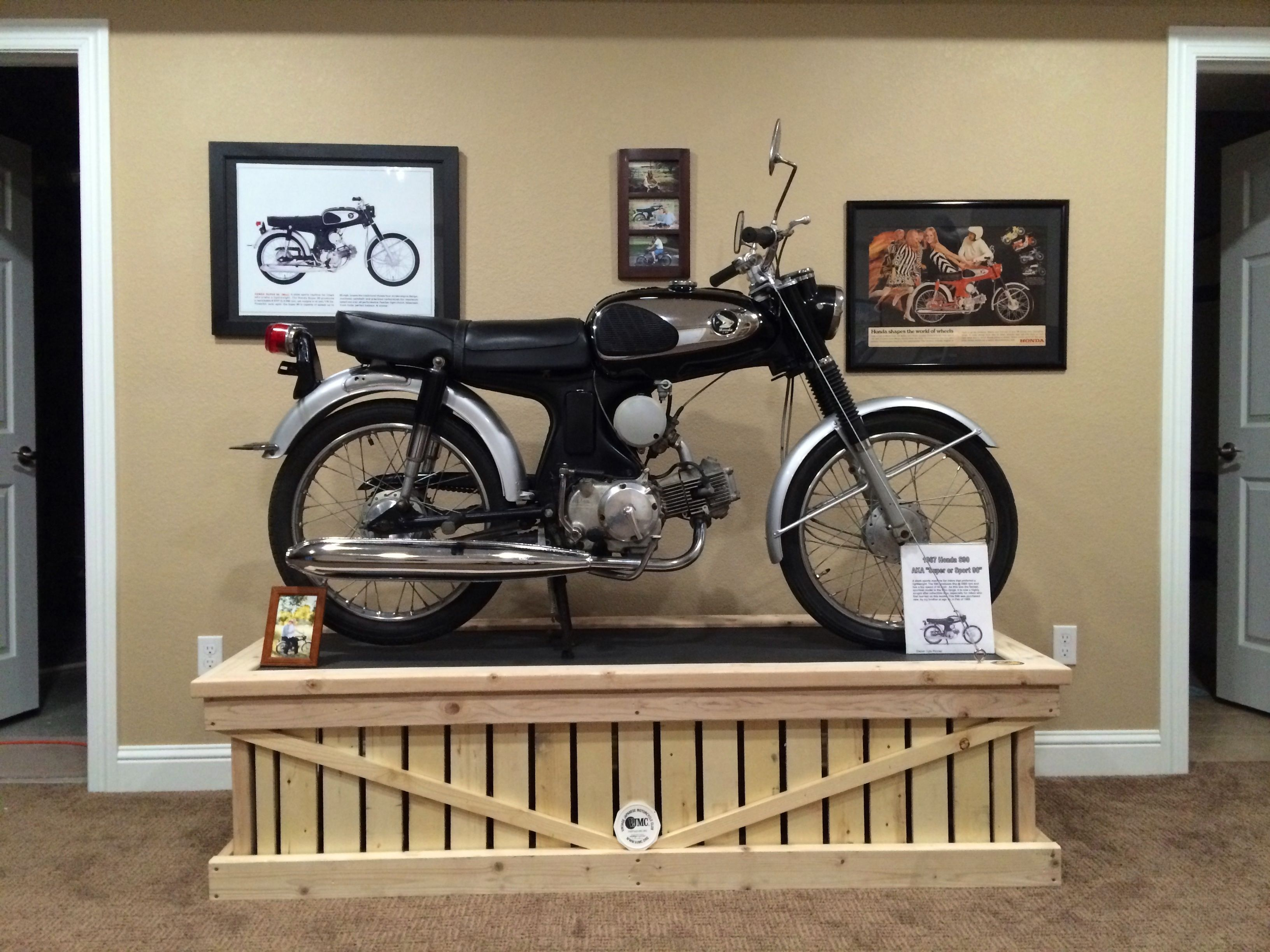Exhibition Stand Vintage : Honda s motorcycle on display stand in my basement