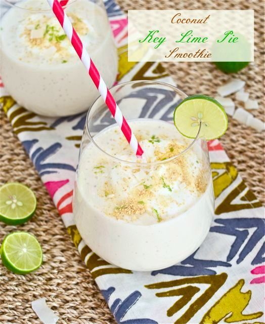 Coconut Key Lime Pie Smoothie is everything you love about key lime pie with less guilt! @FlavortheMoment