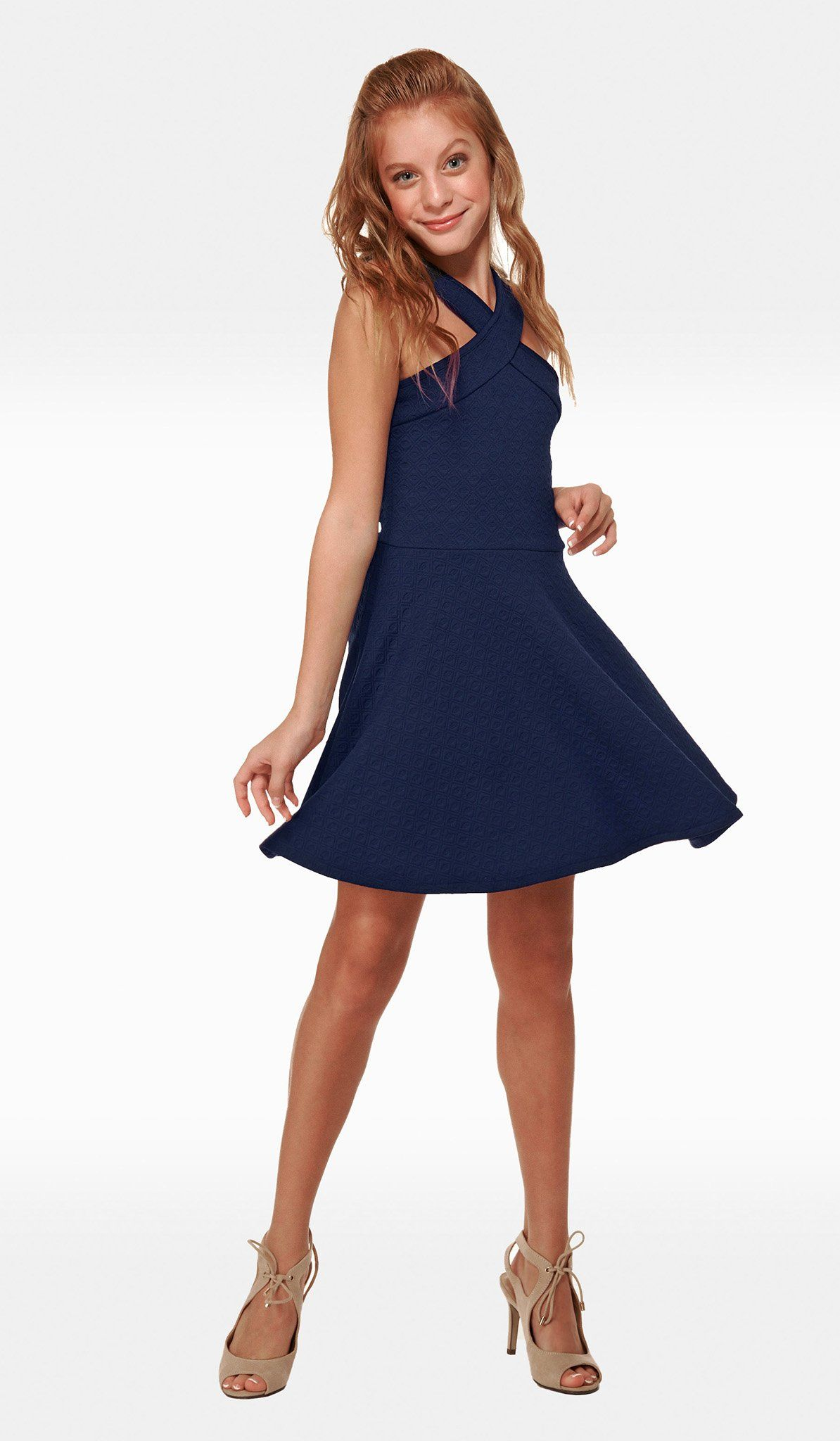 5cd056286f7 The Sally Miller Tracie Dress - Navy diamond textured knit fit and flare  dress with thick straps