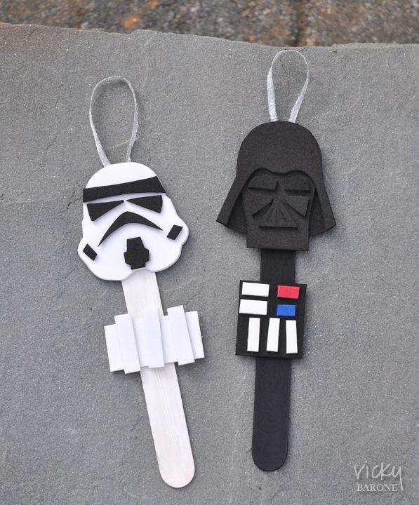 Diy star wars characters popsicle stick ornaments star wars diys basteln selbermachen und - Star wars weihnachtsbaum ...