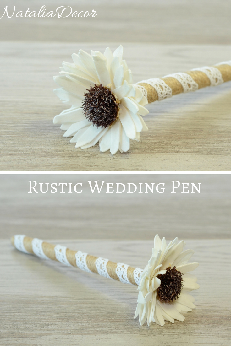 Rustic Wedding Pen, Burlap Guest Book Pen, Wedding Signing Pen ...