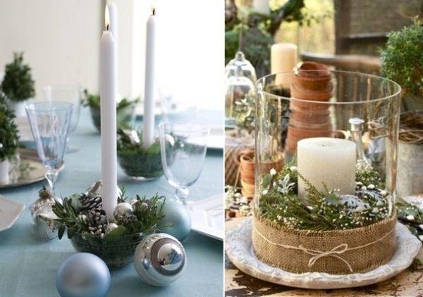 Weihnachtsdeko Ideen Weiß Grün Tisch Kerzenhalter Dekorieren