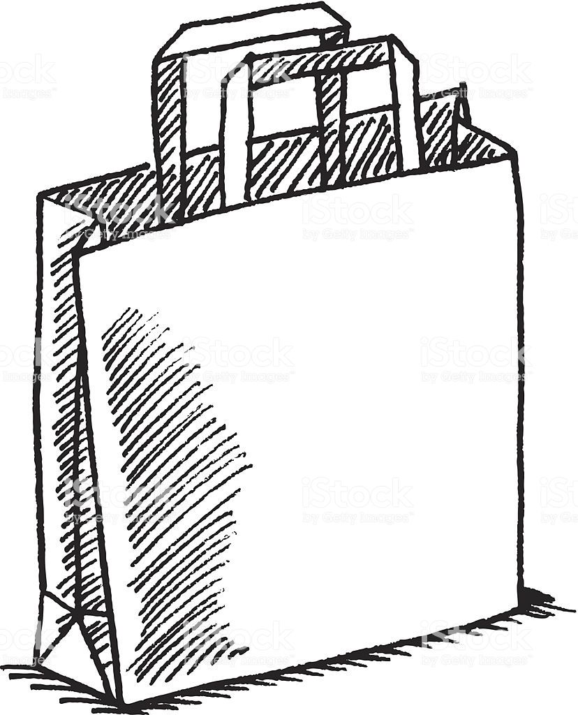 Hand Drawn Vector Sketch Of A Shopping Bag Black And White Sketch